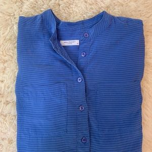 EQUIPMENT 100% SILK BLUE STRIPPED POPOVER BLOUSE